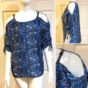Michael Kors-Cold Shoulder-Ruched Sleeve Top-Sz S